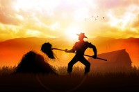 Silhouette of a farmer with a pitchfork collecting hay