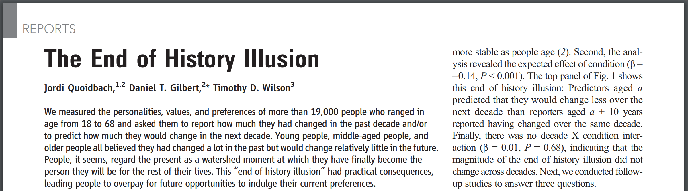 The End of History Illusion
